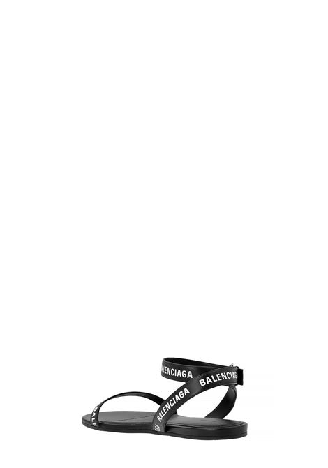 Flat black sandal in calfskin with silver ankle strap   BALENCIAGA |  | 630038-WBAE11090