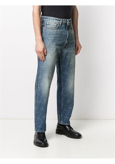Blue cotton-blend denim straight-leg jeans featuring Balenciaga white all over logo BALENCIAGA |  | 641455-TJW532340