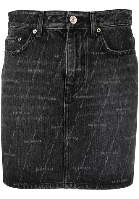 Gonna in denim di cotone nero con stampa Balenciaga all-over BALENCIAGA | Gonne | 641518-TJW411052