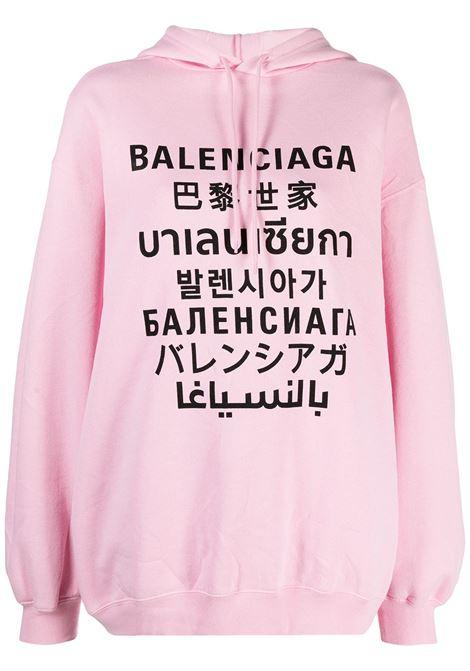 felpa con cappuccio oversize rosa con lettering logo Balenciaga nero BALENCIAGA | Felpe | 641529-TJVI61401