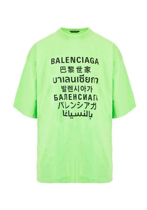 T-shirt girocollo in cotone verde oversize con logo Balenciaga multilingua nero BALENCIAGA | T-shirt | 641614-TJVI34162