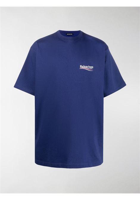 T-shirt oversize in cotone blu con logo Balenciaga BALENCIAGA | T-shirt | 641675-TIV521195