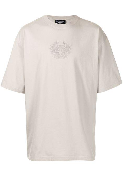 T-shirt oversize con logo Balenciaga ricamato in cotone grigio BALENCIAGA | T-shirt | 641675-TKV712966