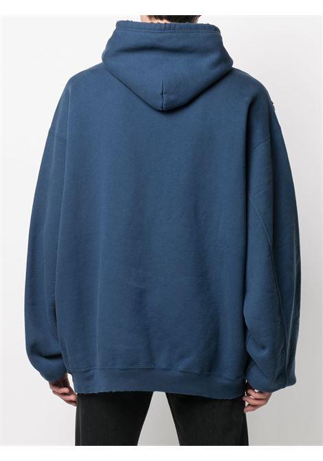 Felpa oversize Athletes in cotone blu con stampa Balenciaga bianca BALENCIAGA | Felpe | 641679-TJVI74866