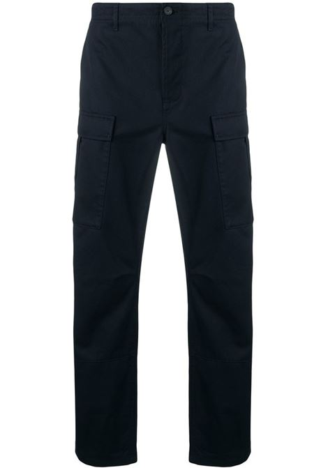 Navy blue cotton slim fit cargo pants in stonewashed effect BALENCIAGA |  | 642154-TJP094100