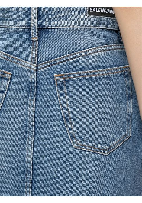 Blue cotton A-line denim skirt featuring high waist and distressed effect BALENCIAGA |  | 646913-TDW154762