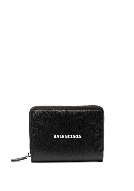 Black calf leather wallet featuring Balenciaga logo print  BALENCIAGA |  | 650879-1IZI31090
