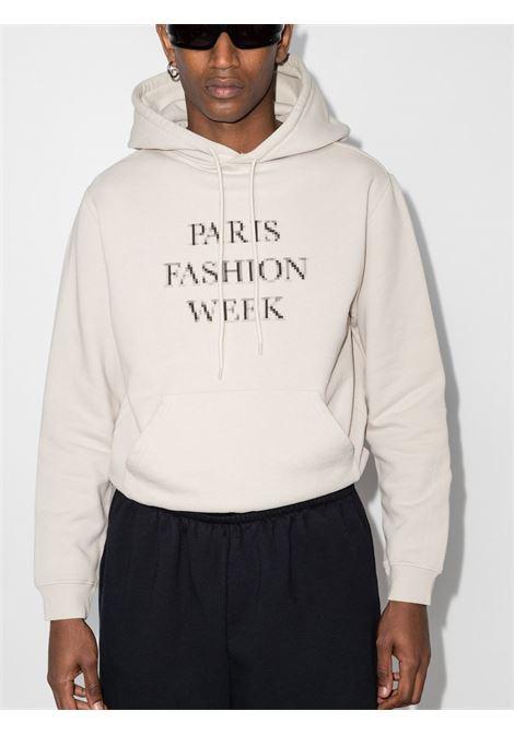 felpa cappuccio grigia con lettering Paris fashion week BALENCIAGA | Felpe | 657034-TKV852984