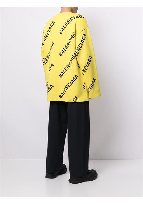 Pullover in filo cotone giallo acceso BALENCIAGA | Maglieria | 657401-T32007440