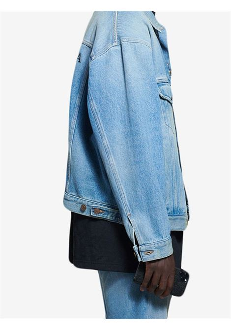 giubbino in denim di cotone indaco con logo Balenciaga ricamato nero BALENCIAGA | Giubbini | 657608-TDW154307