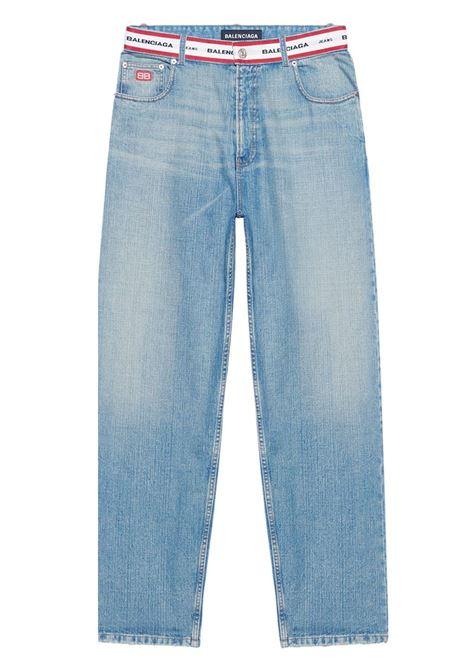 Blue cotton and denim jeans with Balenciaga logo-waistband BALENCIAGA |  | 657615-TIW214031