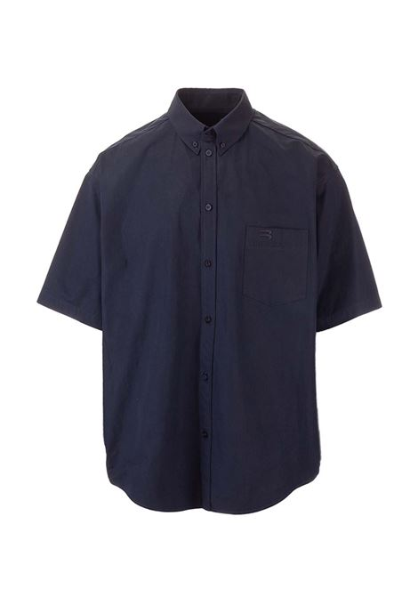 oversize shirt in blue cotton poplin with classic collar BALENCIAGA | Camicie | 658934-TKM028065