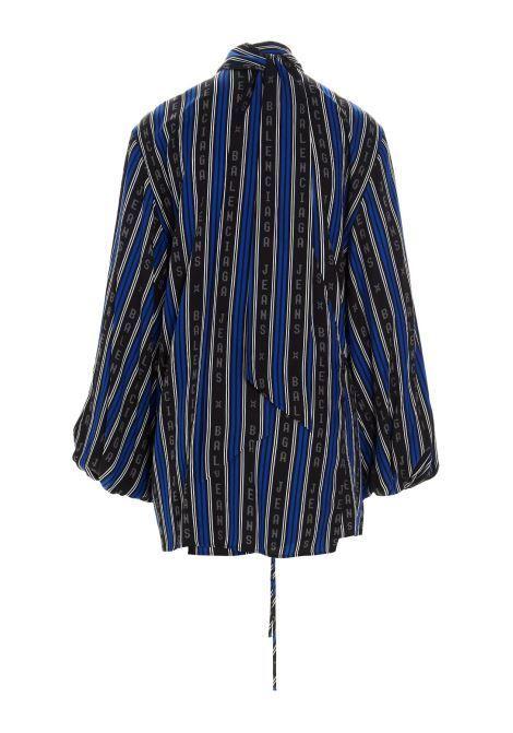 camicia viscosa fasce contrasto scritta logo verticale collo annodato lacceto vita m/l BALENCIAGA | Camicie | 659088-TKL321165