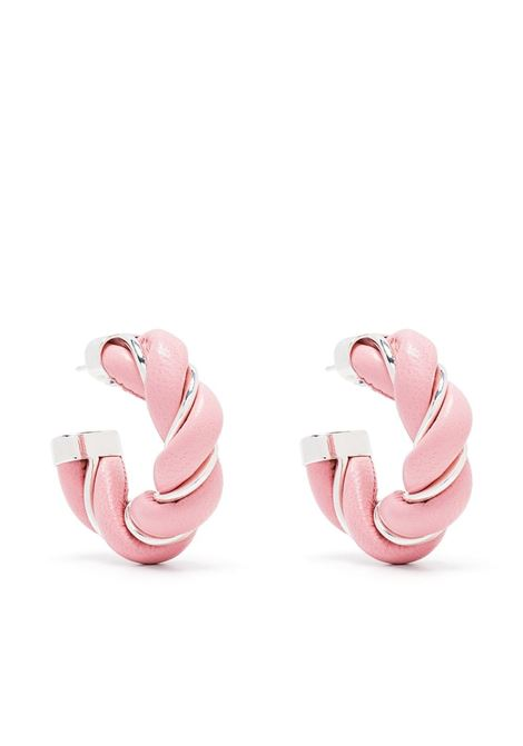 Pink leather and silver metal twisted hoop earrings  BOTTEGA VENETA |  | 628948-V507C5801