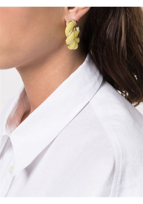 Yellow leather and silver-tone twist hoop earrings   BOTTEGA VENETA |  | 628948-V507C7400