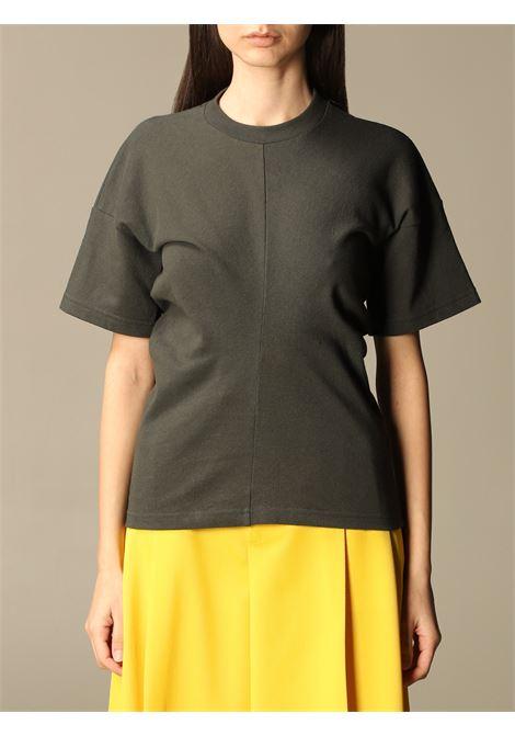 T-shirt in cotone verde scuro con design a pannelli BOTTEGA VENETA | T-shirt | 648233-V0I502275