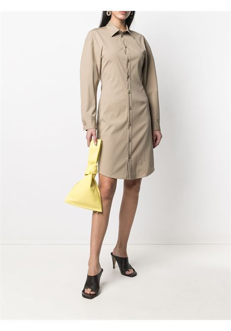 Beige cotton button-up shirt dress featuring classic collar BOTTEGA VENETA |  | 647409-VKIX09733