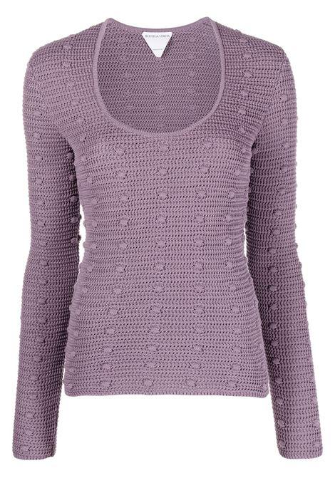 Maglia in cotone lilla con dettaglio pompon all over BOTTEGA VENETA | Maglieria | 647743-V0DW05115