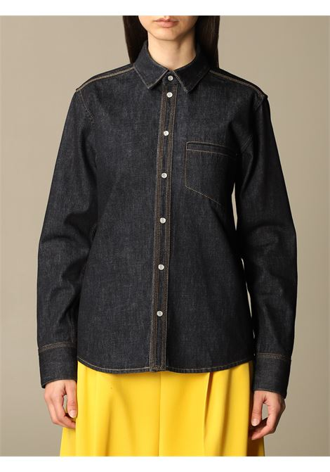 Indigo blue cotton-denim shirt featuring contrast stitching BOTTEGA VENETA |  | 647847-V08Y04245