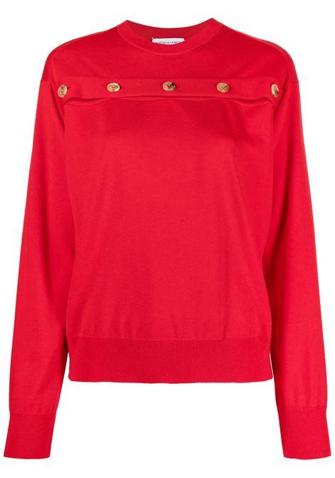 Pullover in lana rossa con bottoni oro girocollo BOTTEGA VENETA | Maglieria | 648729-V09S06144