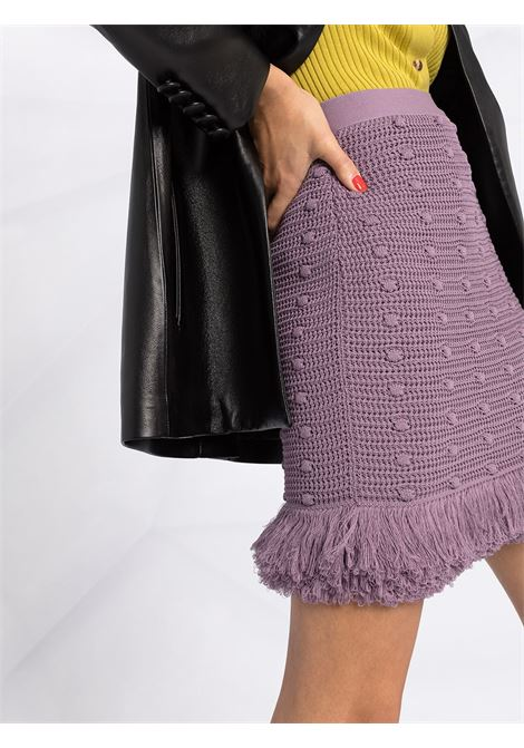 Lavander cotton knitted mini skirt featuring pom pom all over details BOTTEGA VENETA |  | 648956-V0DW05115