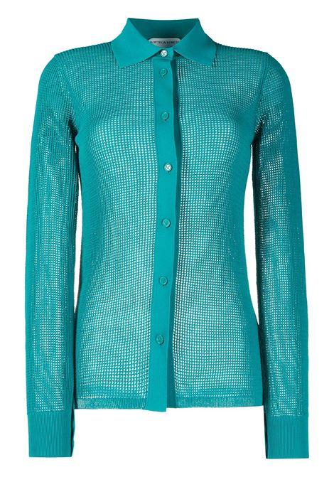 Camicia blu petrolio impreziosita da cristalli BOTTEGA VENETA | Camicie | 648977-V0BN03103