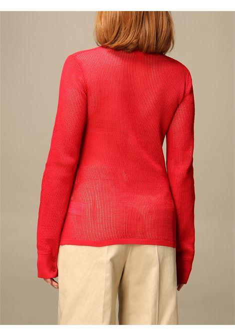 Camicia trasparente in cotone rosso BOTTEGA VENETA | Camicie | 648977-V0BN06144
