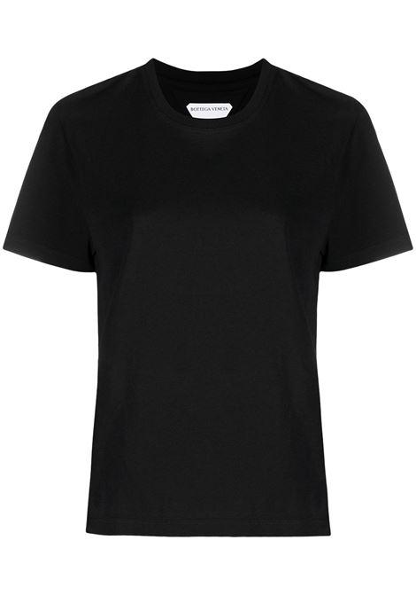 Black cotton short-sleeve T-shirt featuring round neck BOTTEGA VENETA |  | 649060-VF1U01000