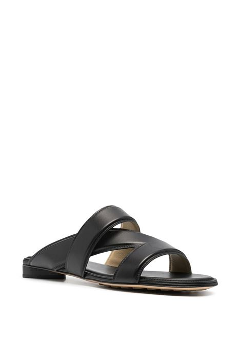 Sandali Flat the Band con tacco largo e cinturino in pelle di vitello nera  BOTTEGA VENETA |  | 651374-VBSL01000