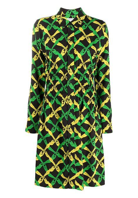 Abito con stampa Fantasia nero, verde e giallo con colletto classico BOTTEGA VENETA | Abiti | 651741-V0G607244