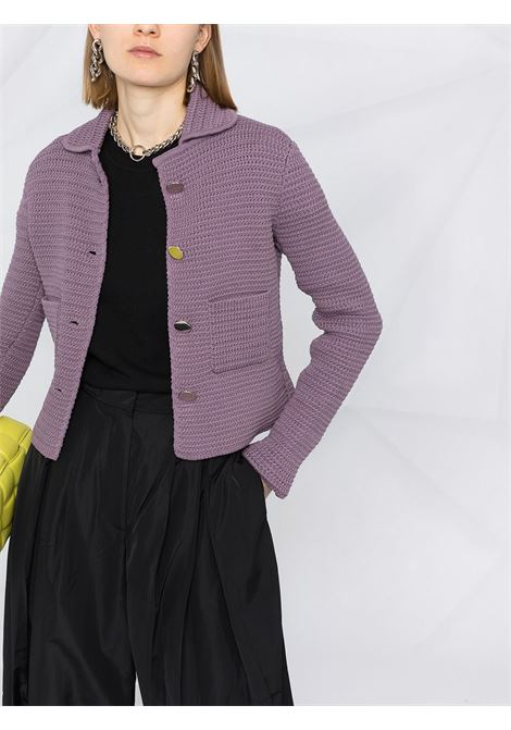 Purple cotton cardigan blazer from featuring spread collar BOTTEGA VENETA |  | 651797-V0SI05115