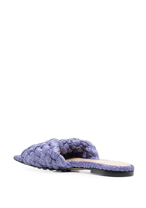 Purple leather and straw Stretch Intrecciato flat sandals BOTTEGA VENETA |  | 652860-V0GM05176