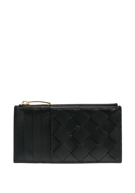 Black nappa leather Intrecciato zipped cardholder  BOTTEGA VENETA |  | 652932-VCPP38648