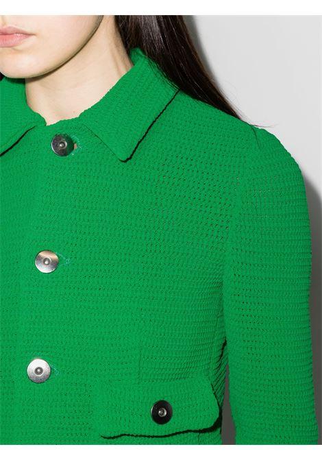 Giacca cardigan corta con bottoni in cotone verde BOTTEGA VENETA | Giacche | 656076-V0S904809
