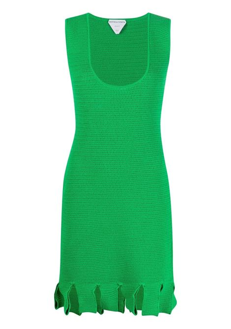 green cotton open-knit fringed-hem sleveless dress  BOTTEGA VENETA |  | 656578-V0S904809
