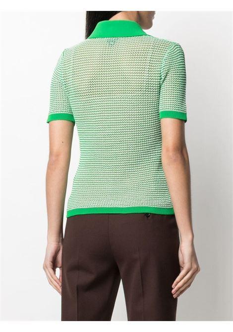 Green and yellow cotton-blend open-knit polo shirt  BOTTEGA VENETA |  | 659484-V0R504810