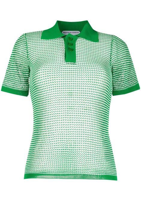 Polo verde e gialla in maglia di cotone con abbottonatura frontale BOTTEGA VENETA | Polo | 659484-V0R504810