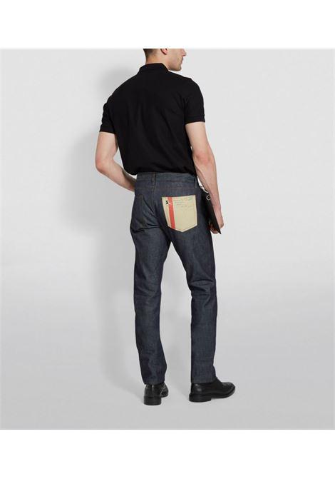 polo nera in piqué di cotone con motivo Monogram Burberry ricamato BURBERRY | Polo | 8014003-EDDIEA1189