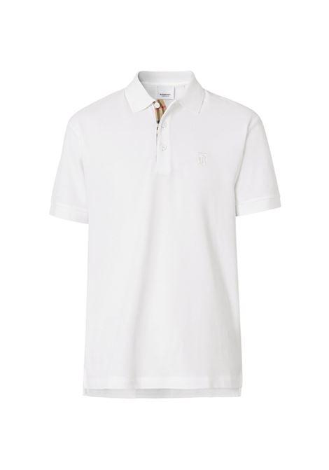 polo bianca in cotone con monogramma Burberry BURBERRY | Polo | 8014005-EDDIEA1464