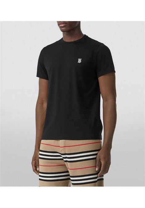 T-shirt in cotone nero girocollo BURBERRY | T-shirt | 8014020-PARKERA1189