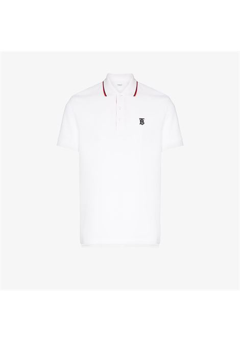 white cotton straight fit piquè polo shirt with black TB embroidered monogram BURBERRY |  | 8017004-WALTONA1464