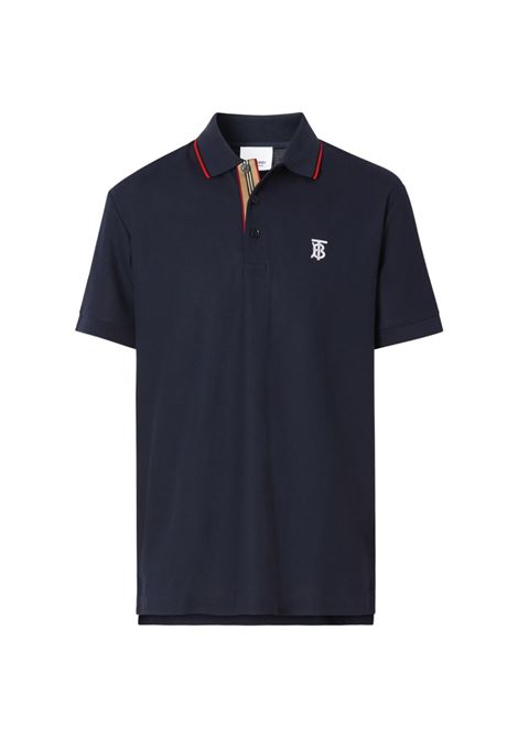 blue polo shirt in airy cotton piqué with white embroidered TB Monogram motif BURBERRY |  | 8017007-WALTONA1222