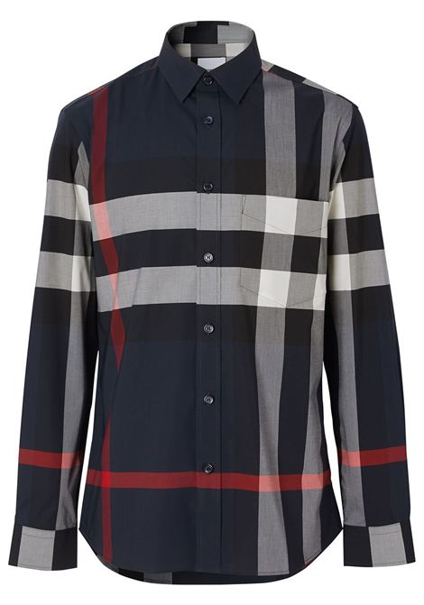 blue slim-fit stretch cotton poplin shirt  BURBERRY |  | 8018111-SOMERTONA1960