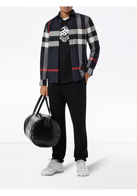 camicia blu slim-fit in popeline di cotone stretch BURBERRY | Camicie | 8018111-SOMERTONA1960