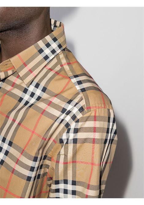 camicia beige a maniche lunghe in popeline di cotone BURBERRY | Camicie | 8020863-CAXTONA7028