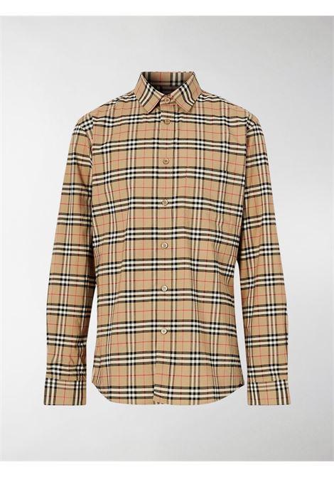 Camicia in cotone beige elasticizzato con colletto classico BURBERRY | Camicie | 8020966-SIMPSONA7028