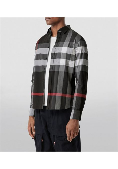 cotton stretch charcoal and red shirt feauting Burberry check print BURBERRY |  | 8023772-SOMERTONA1108