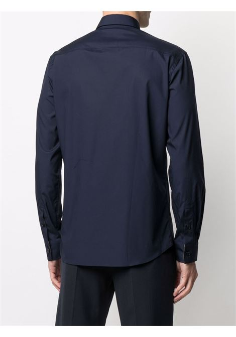 Navy blue stretch cotton TB monogram shirt  BURBERRY |  | 8032606-SHERWOODA1222