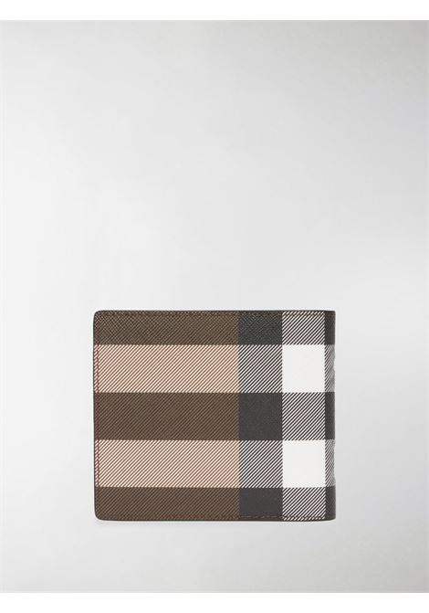 Dark birch brown cotton and leather bifold wallet featuring Burberry Check print BURBERRY |  | 8036666-MS REG CC BIL8A8900