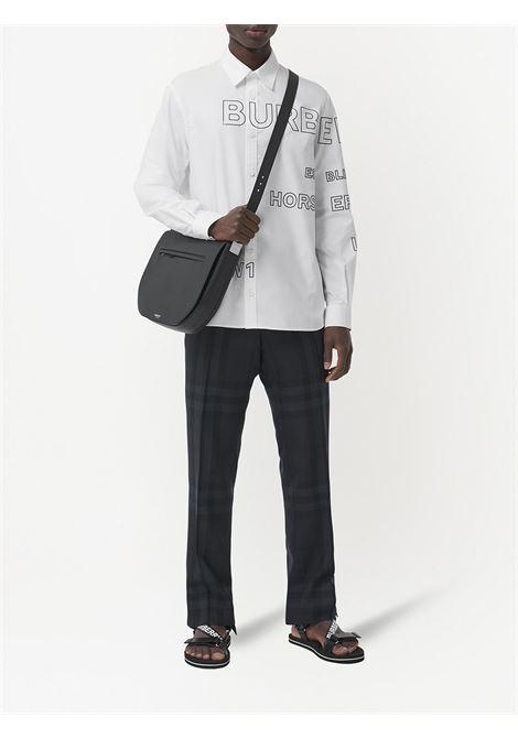 Camicia oxford di cotone bianco con stampa Horseferry con logo all over BURBERRY | Camicie | 8036768-TENNYSONA1464